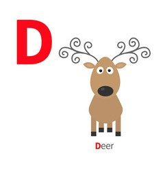 Letter D Deer Zoo alphabet English abc with vector