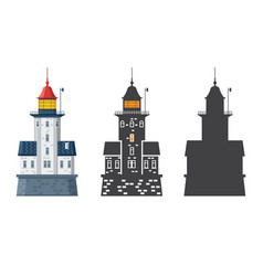 Lighthouse icon in flat and outline style vector