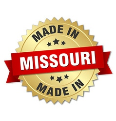 Made in Missouri gold badge with red ribbon vector