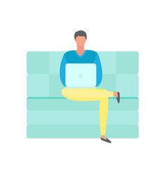man sitting on sofa and working on laptop isolated vector image