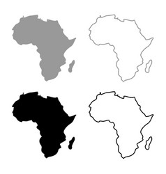 map of africa icon set grey black color vector image