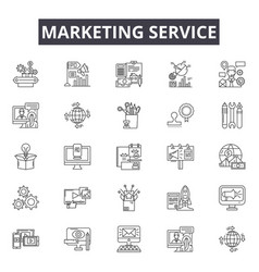 marketing service line icons signs set vector image