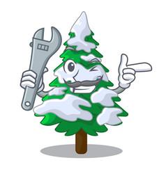 Mechanic fir with snow christmas tree cartoon vector