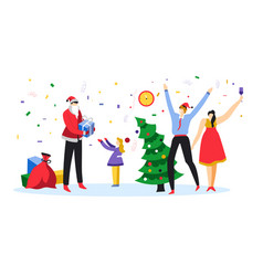 merry christmas and happy new year family vector image