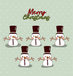 merry christmas card with group of snowman with vector image
