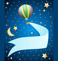 night landscape with balloon and banner vector image