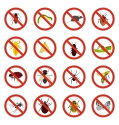 No insect sign icons set flat style vector image