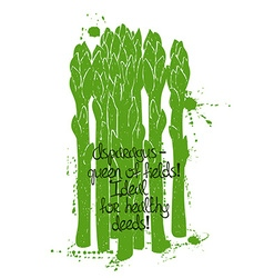 Of Isolated Green Asparagus Silhouette vector