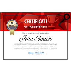 Official white certificate with red triangles and vector