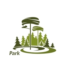 Park landscape icon with evergreen trees vector