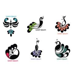 Peacock label vector image