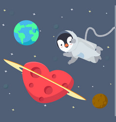 penguin astronaut floating in space background vector image