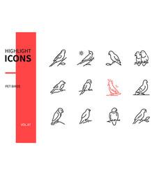 Pet birds - modern line design style icons set vector