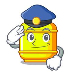Police flammable gas tank on cartoon the vector