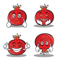 pomegranate cartoon character style set vector image