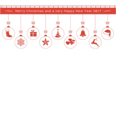 Red Christmas ornaments border header vector