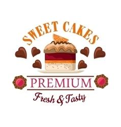 Red velvet mini cake badge for cafe menu design vector