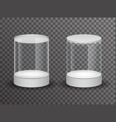 round glass showcase box isolated 3d realistic vector image