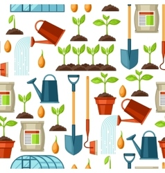 Seamless pattern with agriculture objects vector