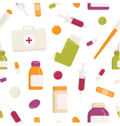 Seamless pattern with first aid kit inhaler vector