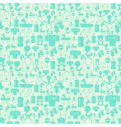 Seamless pattern with newborn baby icons vector image