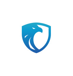 Security shield blue eagle logo design template vector