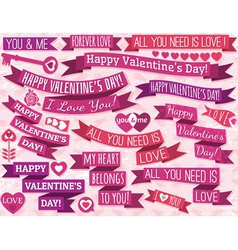 set of many ribbon valentines design vector image