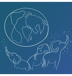 Sketch with elephant family and the earth vector