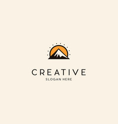 sunny mountain creative logo vector image