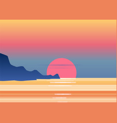 sunset osean sea landscape with mountains and vector image