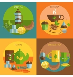Tea time 4 flat icons square composition vector
