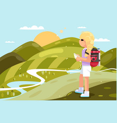 traveler female girl backpack looking map nature vector image