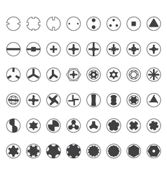 various screw heads silhouette set vector image