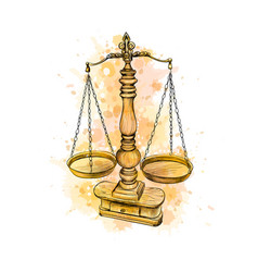 vintage old scale law scales from a splash of vector image