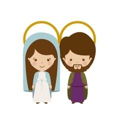 virgin and joseph family cartoon vector image