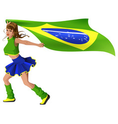 woman fan cheerleader is carrying flag of brazil vector image