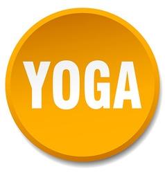 yoga orange round flat isolated push button vector image