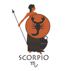 zodiac in the style of ancient greece scorpio vector image