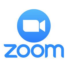 Zoom logo blue camera icon vector