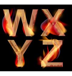 burning letters WXYZ vector image