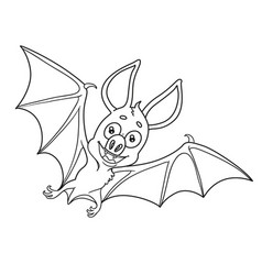 cute halloween bat outlined for coloring page vector image vector image