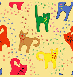funny cats over traces background vector image