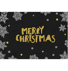 Merry Christmas Golden Greeting On blackboard vector image