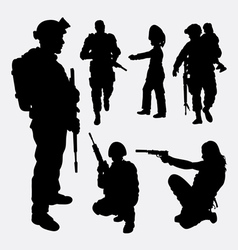 Military soldier army activity silhouette vector