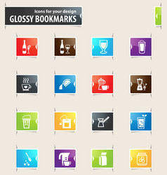 preparation of beverages bookmark icons vector image vector image