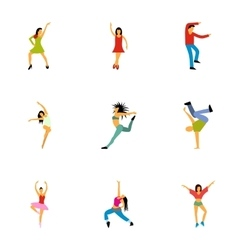 Types of dances icons set flat style vector image