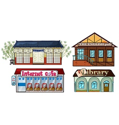 Asian building Pub Internet cafe and a library vector image vector image