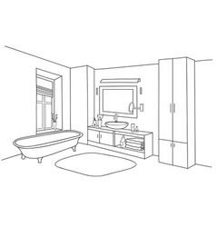 bathroom interior bath room furniture set vector image vector image