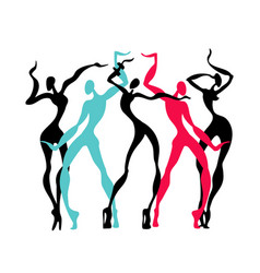 beautiful women dancing silhouettes vector image vector image