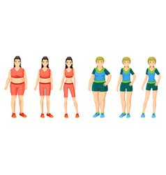 cartoon women weight loss concept vector image
